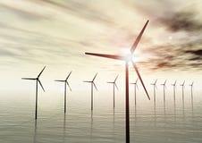 Turbinas de viento en el mar Imagen de archivo