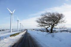 Turbinas de viento en invierno Foto de archivo libre de regalías