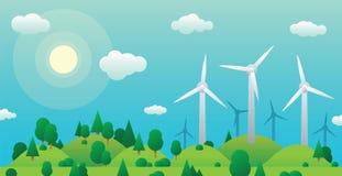 Turbinas de viento en la colina verde y bosque verde del verano en el cielo azul del claro del fondo Foto de archivo libre de regalías