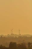 Turbinas de viento en la oscuridad Imagen de archivo