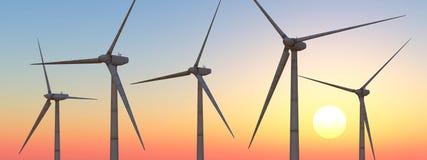 Turbinas de viento en la puesta del sol ilustración del vector