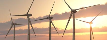 Turbinas de viento en la puesta del sol libre illustration