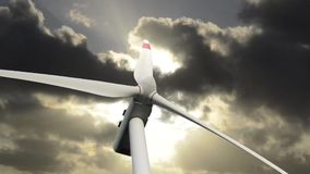 Turbinas de viento en la puesta del sol almacen de video