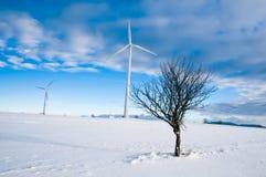 Turbinas de viento en paisaje del invierno Fotografía de archivo