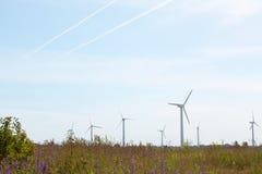 Turbinas de viento en un campo Imágenes de archivo libres de regalías