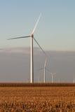 Turbinas de viento en una vertical del campo de maíz Imágenes de archivo libres de regalías