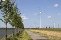 Turbinas de viento a lo largo de un canal en un día soleado Fotos de archivo libres de regalías