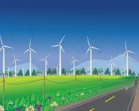 Turbinas de viento para el ambiente verde Imagen de archivo libre de regalías