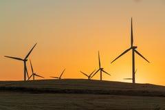 Turbinas de viento que dan vuelta en el viento en la puesta del sol en un campo de trigo seco imagen de archivo libre de regalías