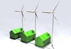 Turbinas de viento y casas ahorros de energía Foto de archivo libre de regalías