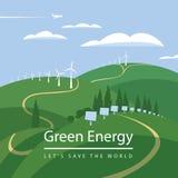 Turbinas de viento y los paneles solares Imagen de archivo