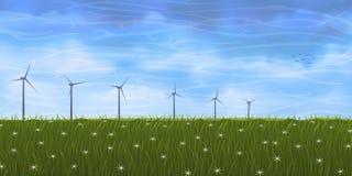 Turbinas del prado y de viento del verano Imagen de archivo libre de regalías