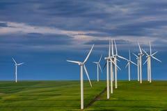 Turbinas eólicas cedo na luz adiantada do alvorecer Fotografia de Stock Royalty Free