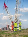 Turbinas eólicas da construção Fotos de Stock Royalty Free