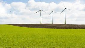Turbinas eólicas na paisagem Fotos de Stock Royalty Free
