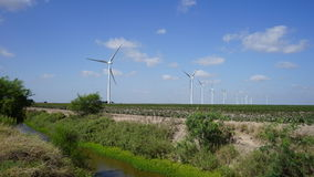 Turbinas eólicas no campo do algodão Fotos de Stock Royalty Free