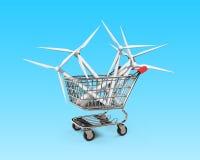 Turbinas eólicas no carrinho de compras, ilustração 3D ilustração stock