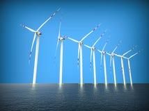 Turbinas eólicas no mar ilustração royalty free