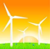 Turbinas eólicas no prado Fotografia de Stock