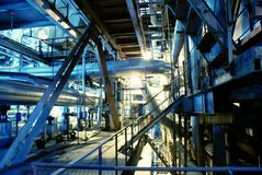 Turbine à vapeur de pipes, de tubes, de machines et  Image libre de droits
