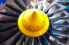 Turbine. Blades of the turbine of the jet engine Royalty Free Stock Photos