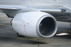 Turbine aircraft. Turbine of a white plane airport Stock Images