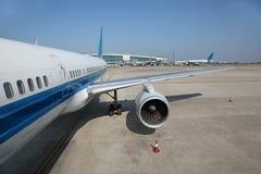 Turbine of aircraft at airport Baiyun Stock Photos