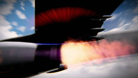 Turbine aircraft on fire video. Turbine of airplane on fire in flight footage stock video