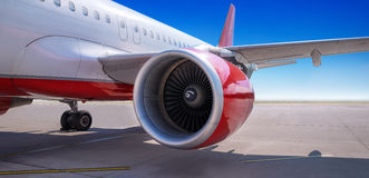 Turbine of an airliner. On the runway Royalty Free Stock Photography