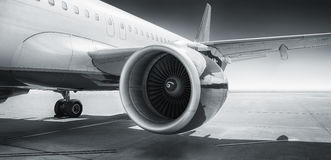 Turbine of an airliner. On the runway Stock Photo