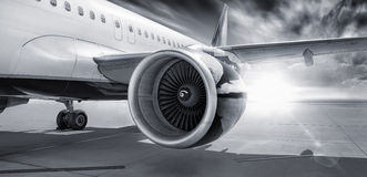 Turbine of an airliner. On the runway Stock Image