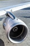 Turbine of airplane. Engine of passenger airplane waiting in airport Royalty Free Stock Images