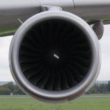 Turbine of big airplane. Turbine on the wing of big airplane stock photos