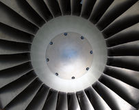 Turbine Blades. Close-up of a military jet engine turbine blades royalty free stock photos