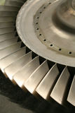 Turbine blades. Aviation turbine blade with a focus on the foreground stock image