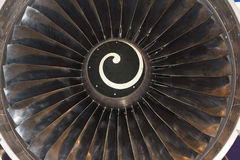 Turbine blades of aircraft jet engine Stock Photo