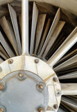 Turbine blades and inside a close-up of  jet engine military plane Royalty Free Stock Image