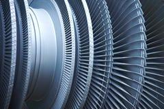 Turbine blades jet engine aircraft. Closeup. Industrial Stock Photos