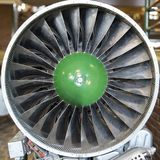 Turbine blades of turbo jet engine for plane, aircraft concept in aviation industry.  Royalty Free Stock Images