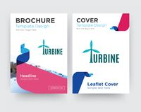 Turbine brochure flyer design template. With abstract photo background, minimalist trend business corporate roll up or annual report Stock Image