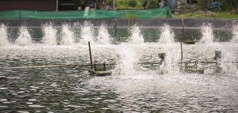Turbine d'aération de l'eau dans l'agriculture aquatique Photographie stock