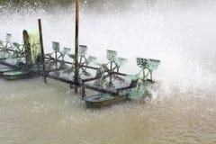 Turbine de l'eau dans l'exploitation de pisciculture Images libres de droits