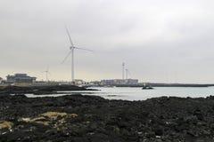Turbine de vent à Jeju Corée Photographie stock libre de droits