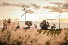 Turbine de vent dans le coucher du soleil Images stock