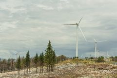 Turbine del mulino a vento di energia eolica dell'energia rinnovabile Fotografia Stock Libera da Diritti