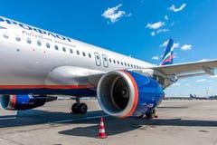Turbine des Passagierflugzeugs der Aeroflot-Firma lizenzfreie stockfotografie