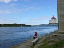 Turbine di Saltstraumen del paesaggio della Norvegia Immagini Stock