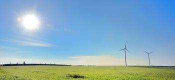 Turbine di vento, campo giallo Fotografia Stock Libera da Diritti
