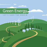 Turbine di vento e comitati solari Fotografie Stock