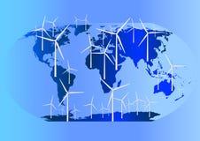 Turbine di vento globalmente Immagine Stock